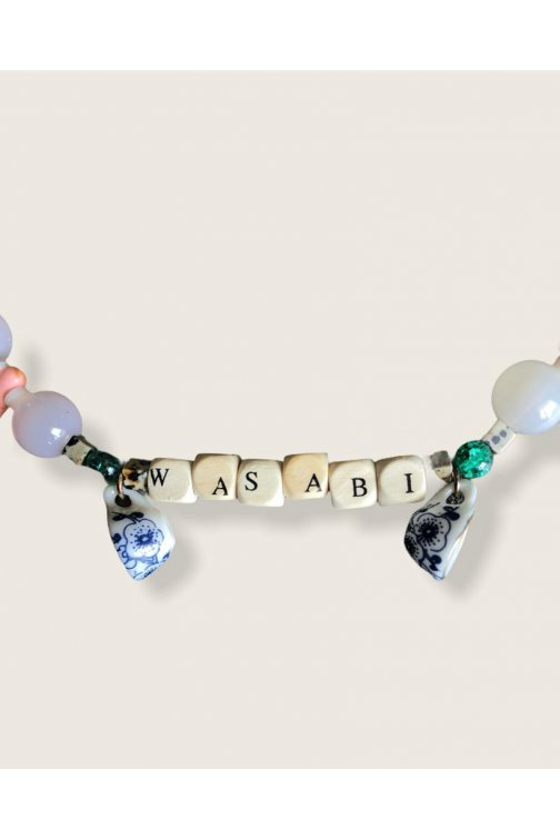 Wood letters wasabi necklace