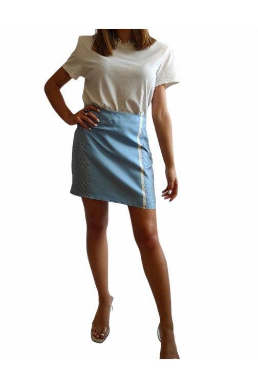 Mini light blue silk skirt
