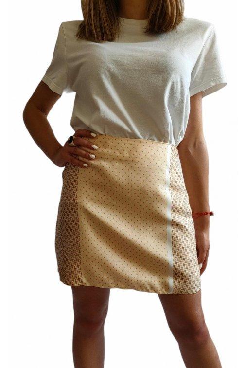 Mini yellow silk skirt