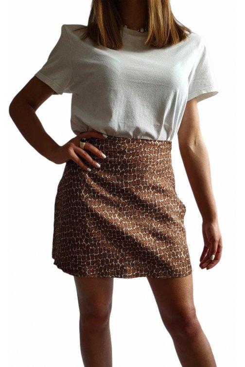 Mini jupe en soie marron