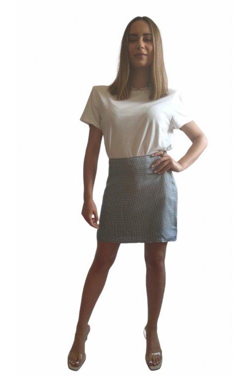 Mini white and blue silk skirt