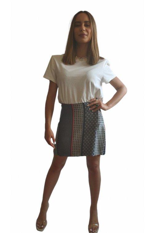 Mini jupe en soie patchwork