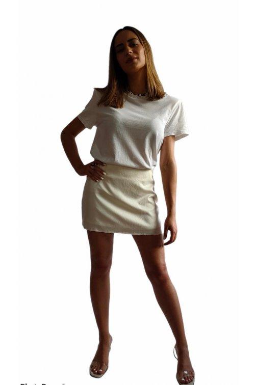 Mini jupe en soie blanc cassé