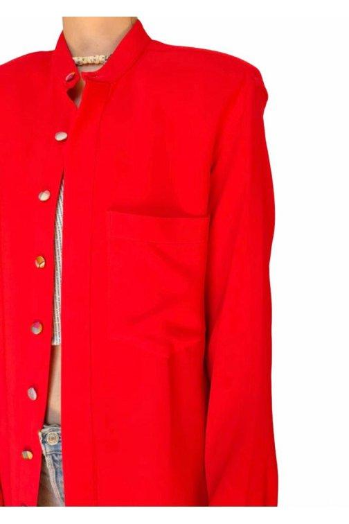 Robe chemise rouge à...