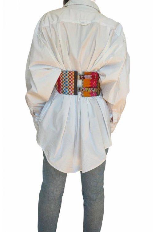 Pachtwork silk coset belt