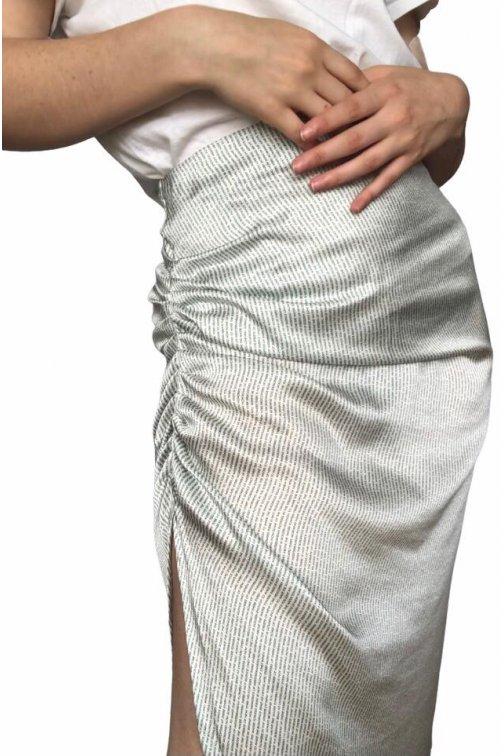 Jupe drapée midi- blanche à...