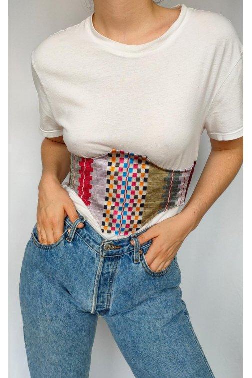 Patchwork silk corset belt