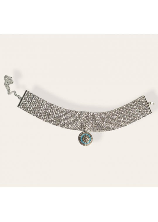 Choker crystal necklace with upcycled...