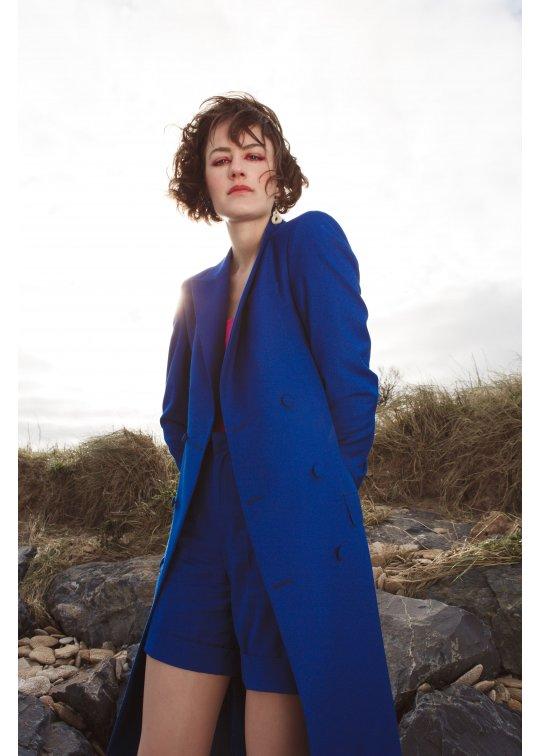 Manteau Clotilde en Laine d'été Bleu...