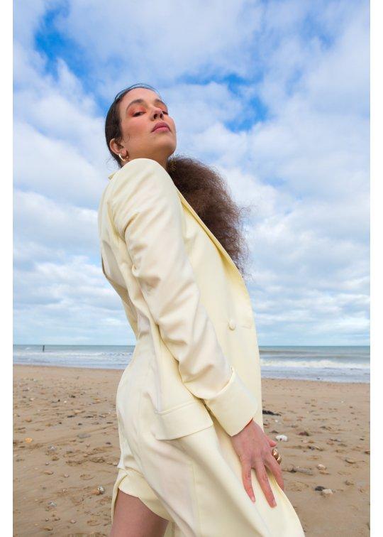 Manteau long Vanille Laine d'été -...