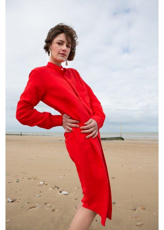 Robe chemise crêpe de soie Rouge Corail