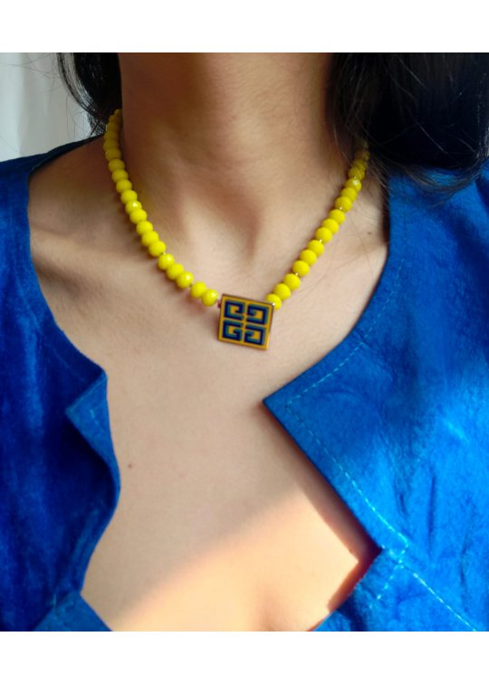 Yellow necklace with upcycled...
