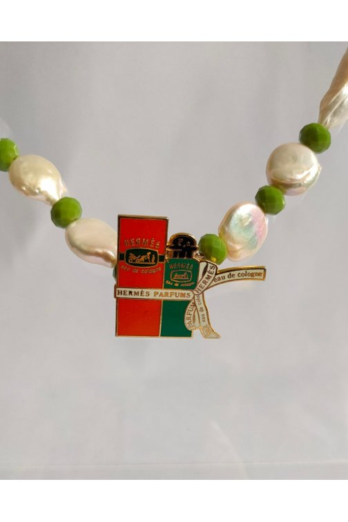 White and green necklace with upcycled Hermes pin
